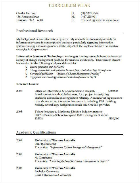 8  sample it curriculum vitae templates