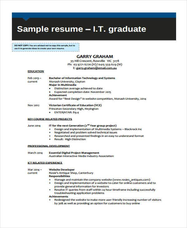 40+ Simple IT Resume Templates - PDF, DOC