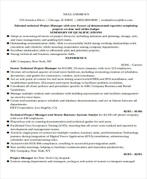 30 IT Resume Samples – Technical Project Manager Resume Sample