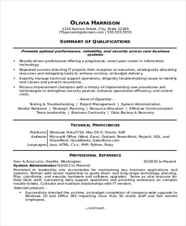 it work experience resume sample