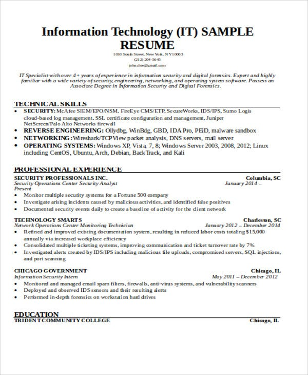 it work resume example