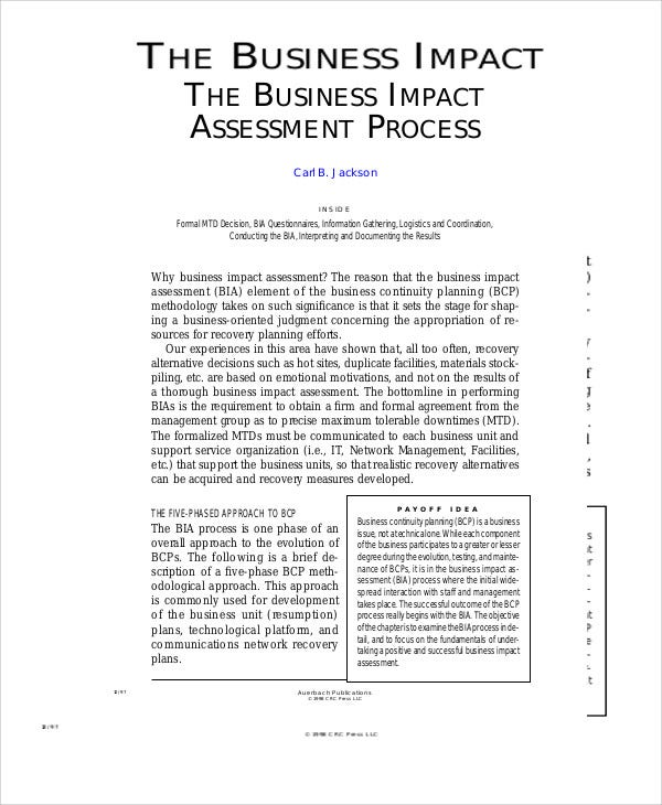 impact assessment for business process