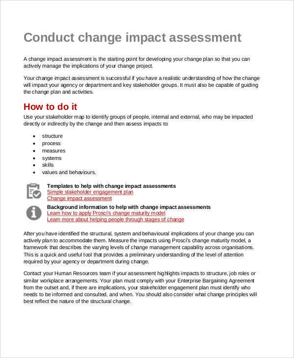 impact assessment for change management