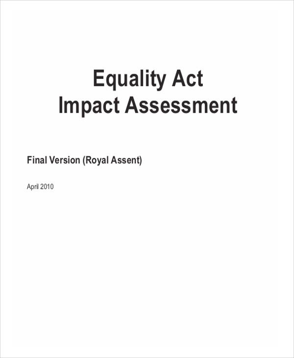 impact assessment for equality act