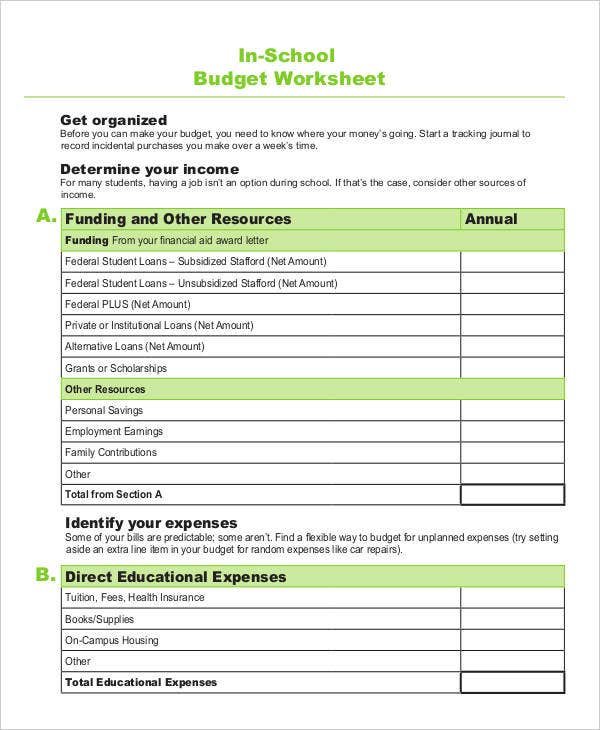 In-School Budget Worksheet