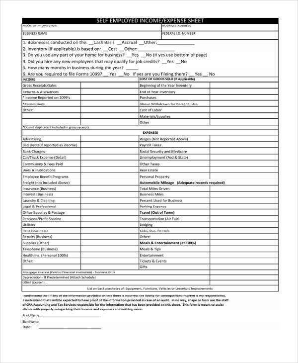 income expense sheet1