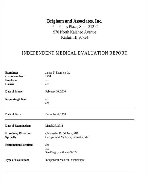 Medical Evaluation Sample Medical Form Medical Evaluation Nyc