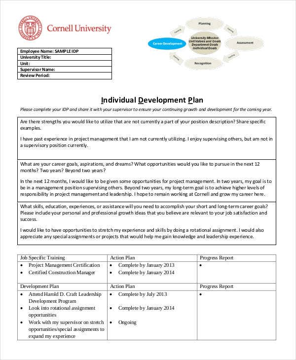 Individual Management Development Plan  Employee Personal Development Plan Template