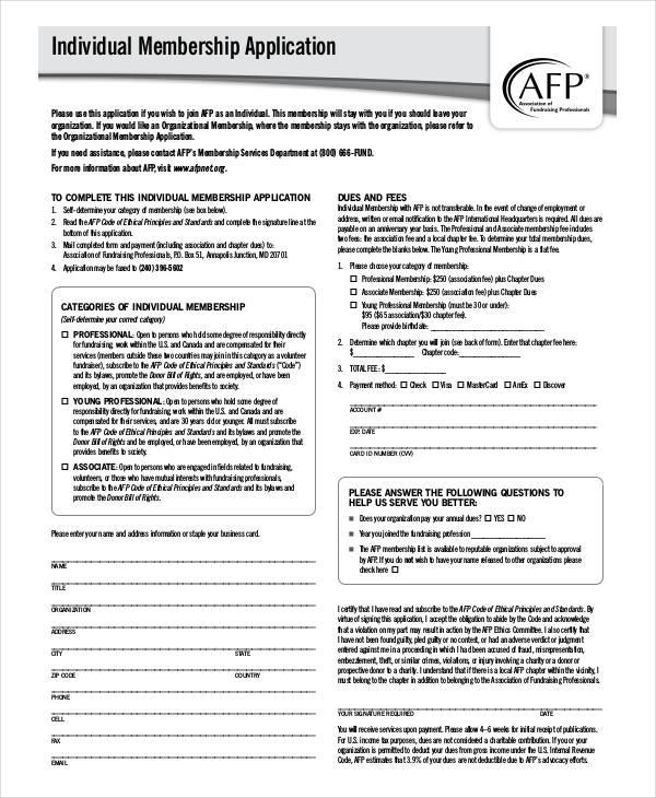 individual membership application