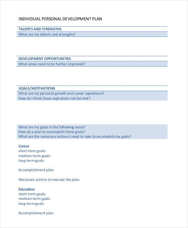 individual personal development plan template