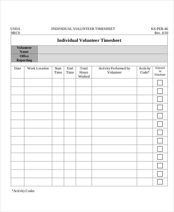 individual volunteer timesheet