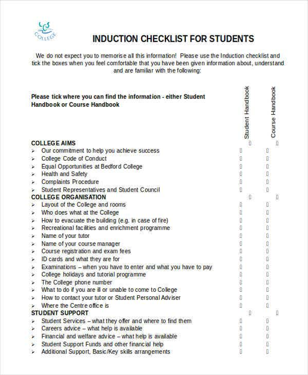 induction checklist for student
