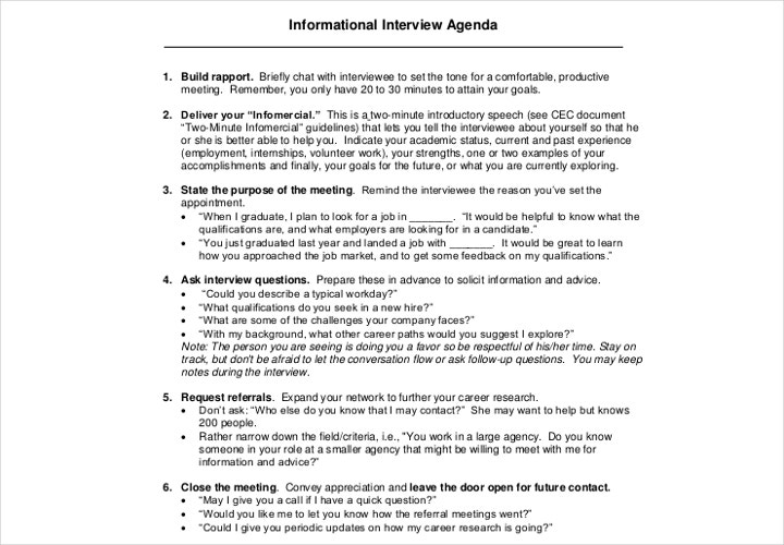 informational interview agenda