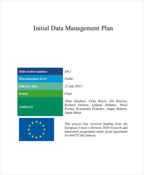 initial data management plan