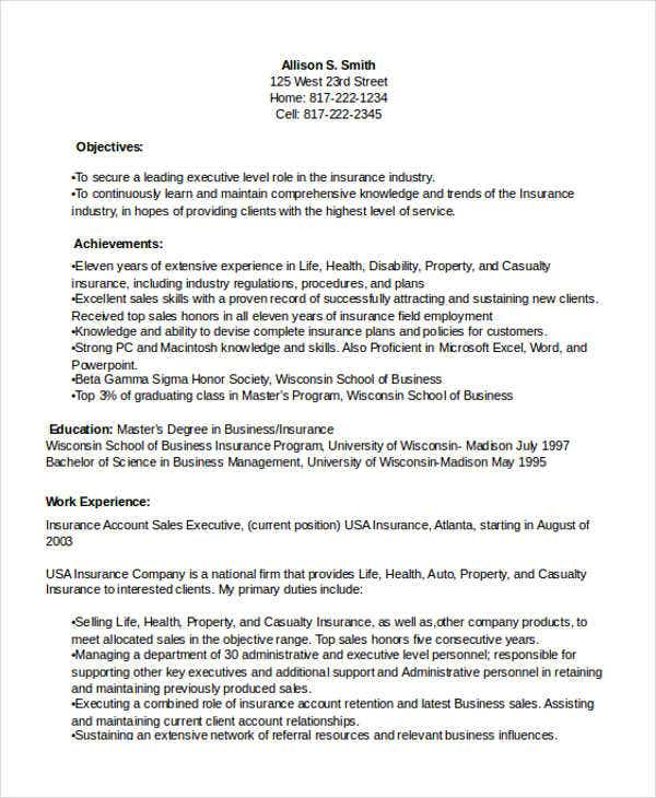 insurance sales executive resume