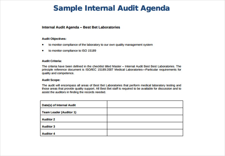 internal audit agenda
