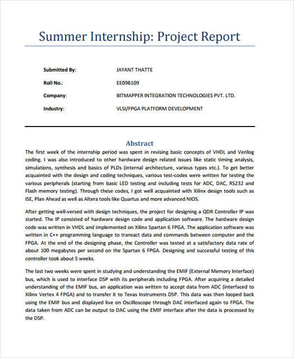 internship project final report