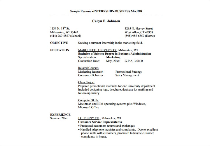 internship resume for marketing