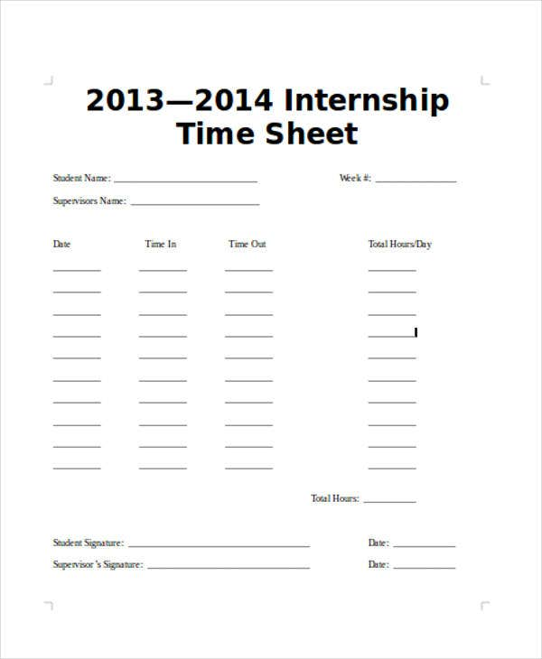 internship timesheet