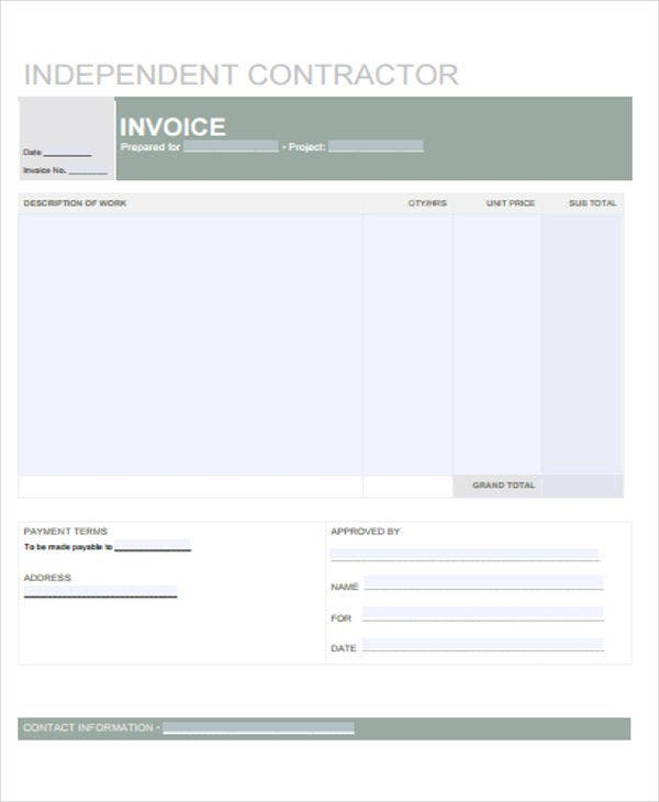 invoice for contract job