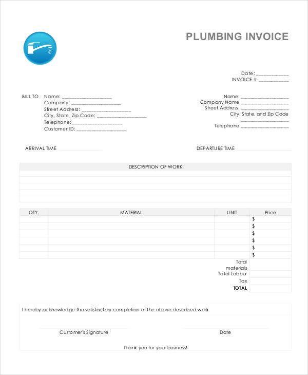 invoice for plumbing job