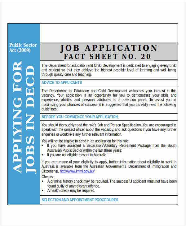 job application fact sheet