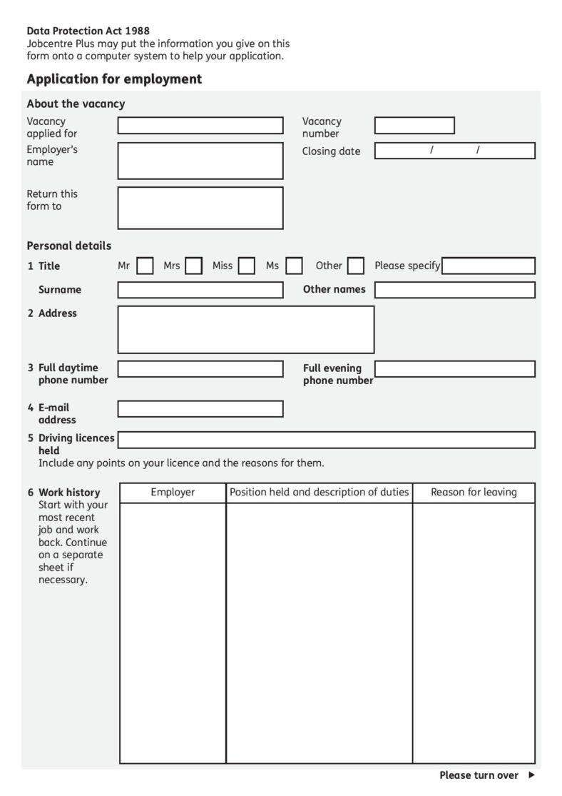 job application template pdf format free download