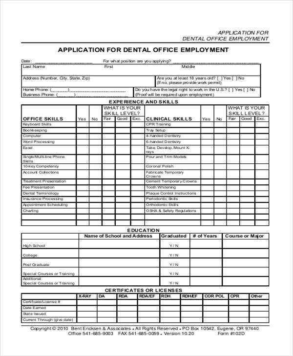 job application for dental office
