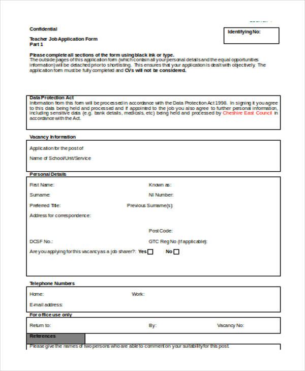 job application for primary teacher