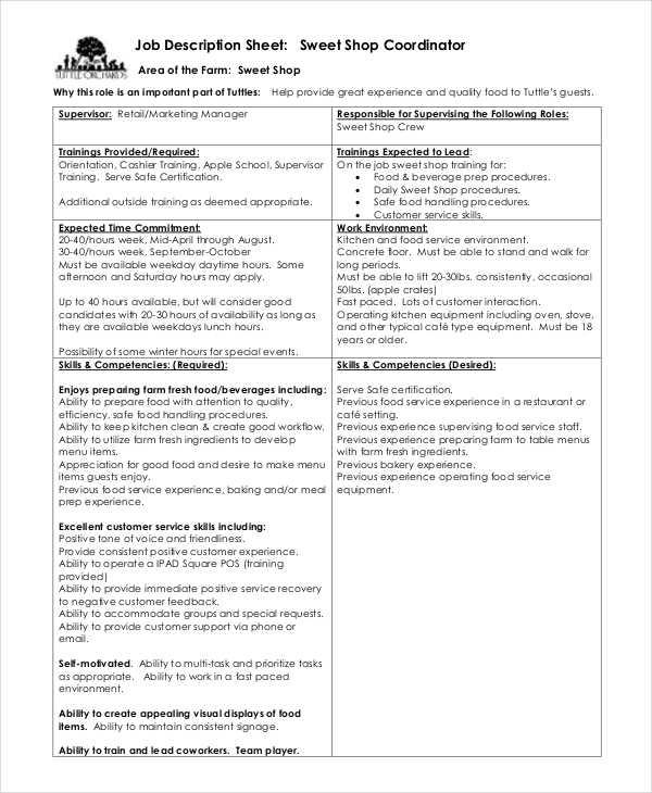 job description sheet