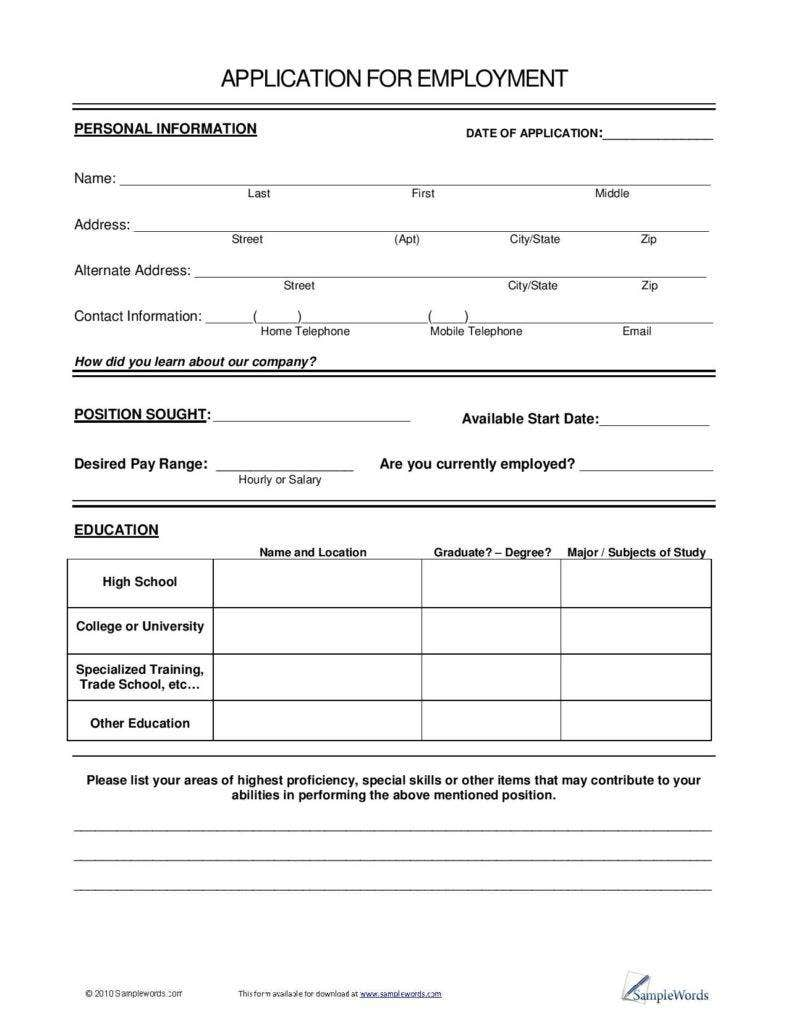 7 Application Form Templates – Sample Employment Application Form