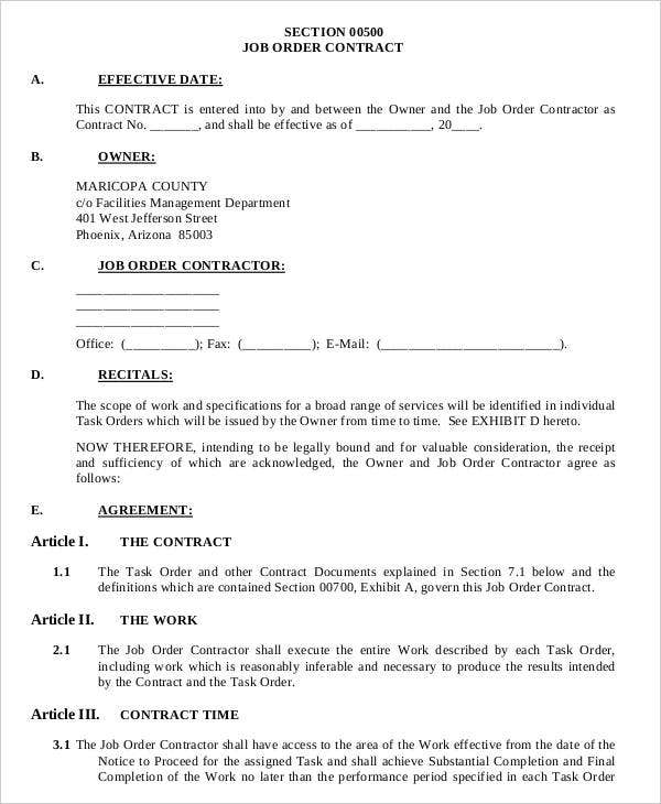 job order contracts form of agreement
