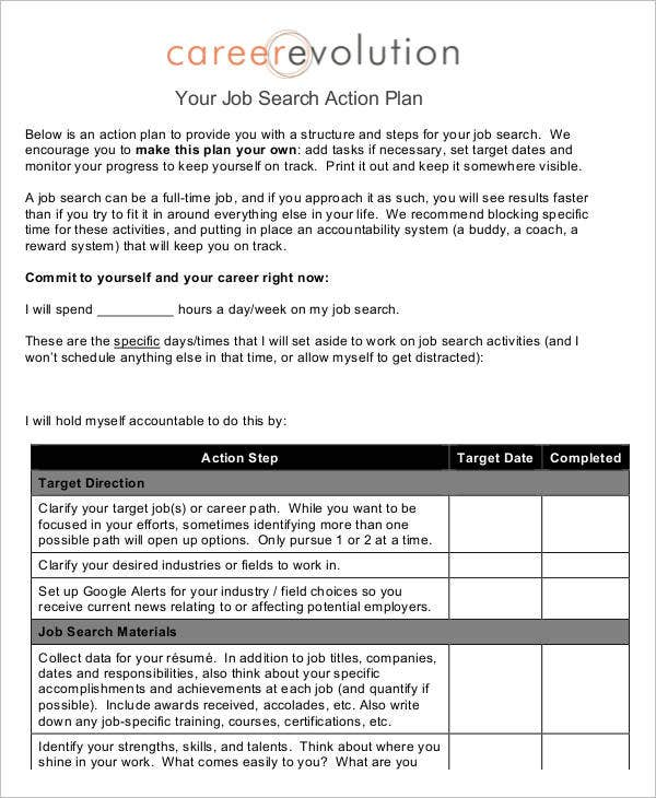 Job plan templates 10 free samples examples format for Job search action plan template