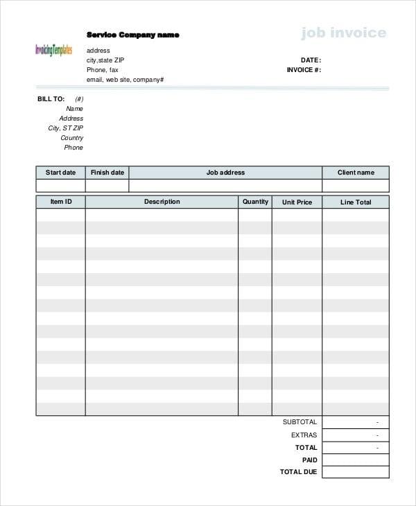 job service invoice