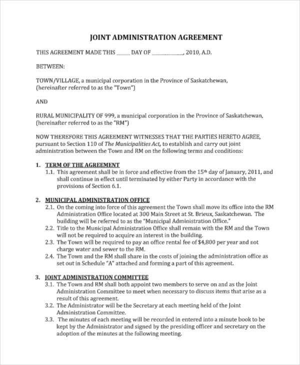 joint administration agreement