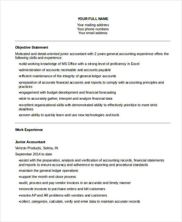 Junior Accountant Resume Objective  Junior Accountant Resume