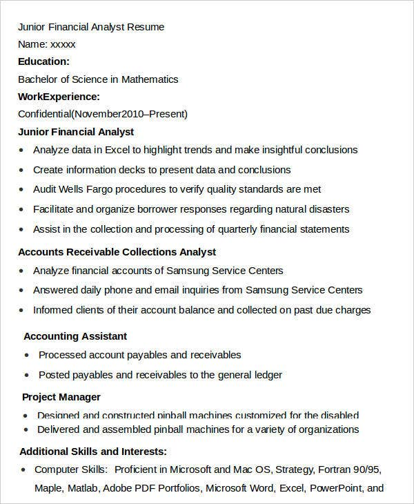 Junior Finance Analyst Resume  Junior Financial Analyst Resume
