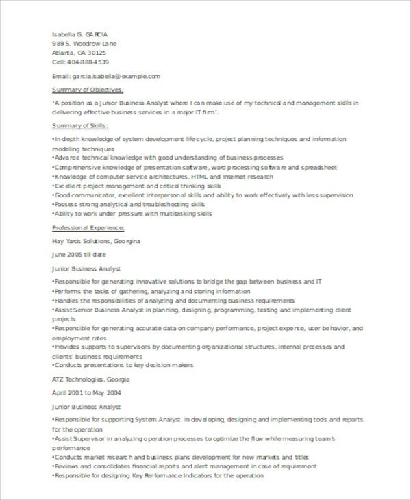 senior business analyst resume sle ilivearticles info