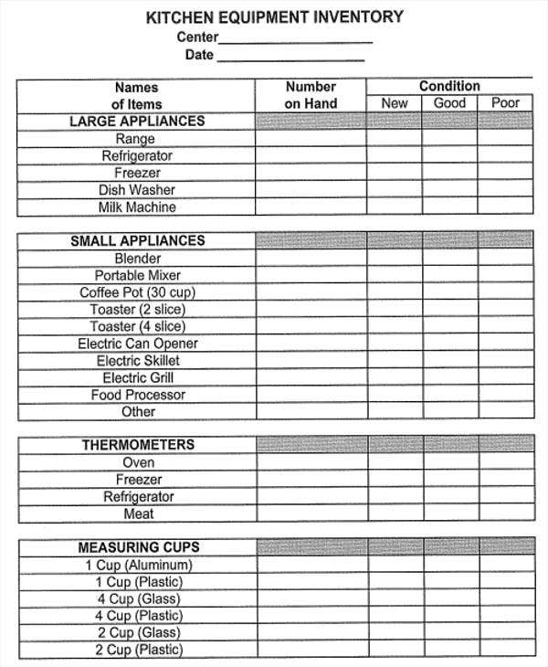 Kitchen Equipment List ~ Equipment inventory list templates free samples