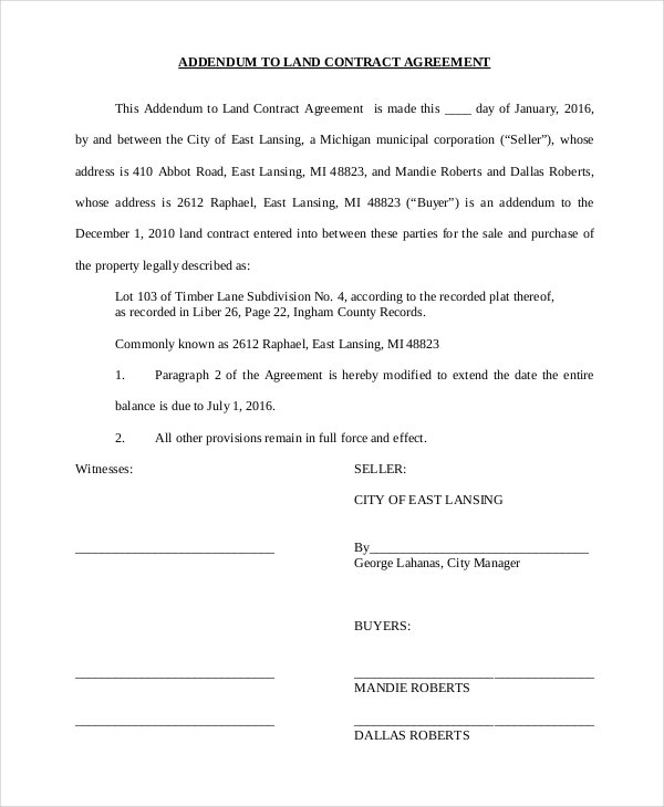 land contract agreement