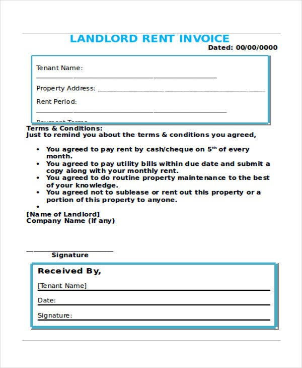 landlord rent invoice