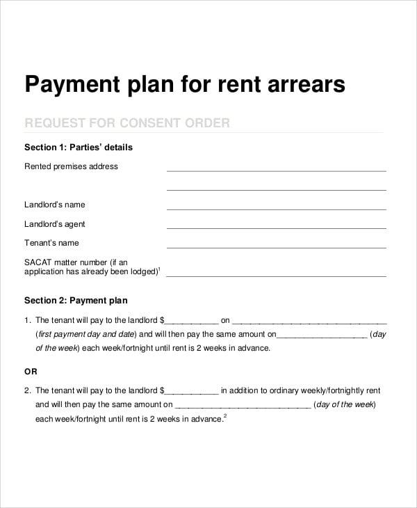 landlord tenant payment plan