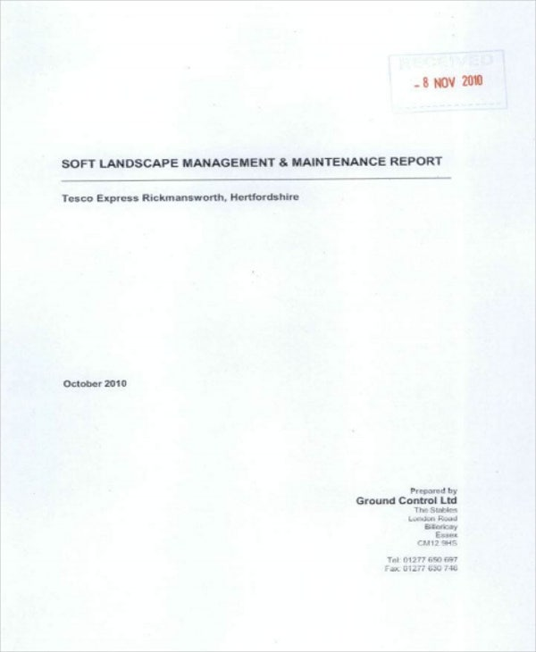landscape maintenance monthly report