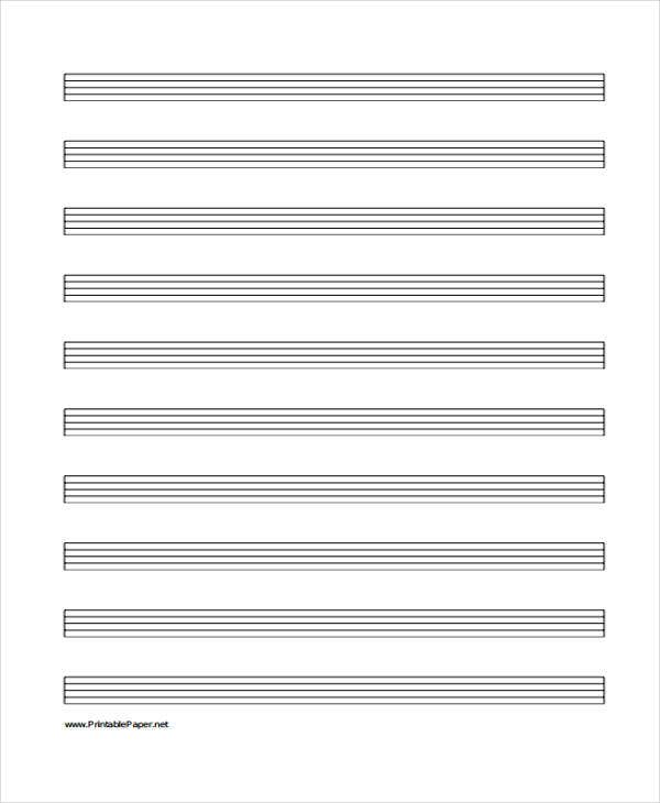 28 Free Lined Paper Templates – Music Paper Template