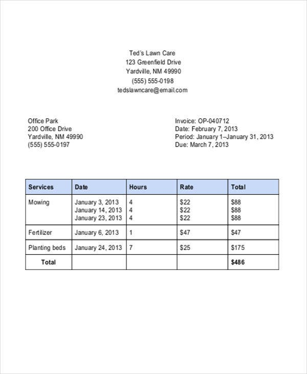 Lawn Care Invoice Template Free Word PDF Format Download - Lawn care invoice template free