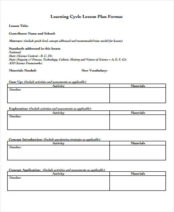 Learning Plan Templates Free Samples Examples Format - Learning cycle lesson plan template