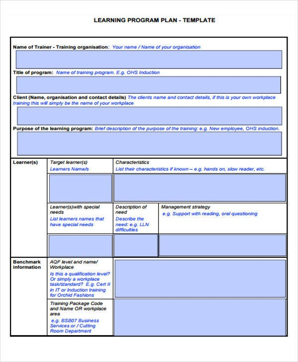 learning program plan