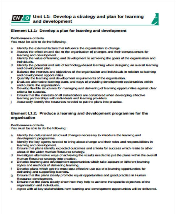 learning and development plan