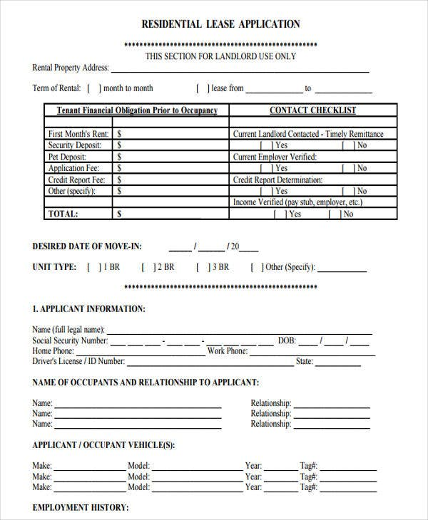 lease rental application