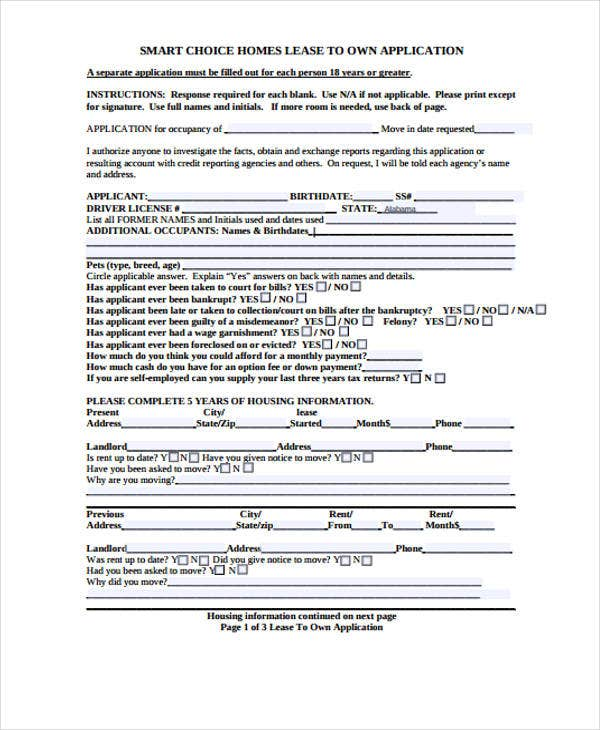 lease to own application form